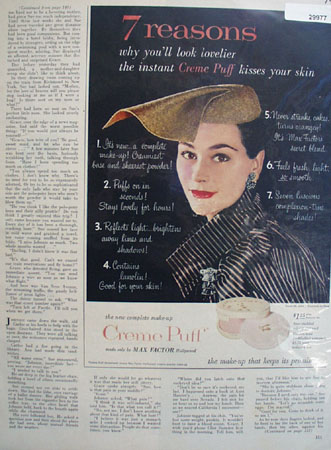 Max Factor Crme Puff Make Up 7 Reasons Ad 1954