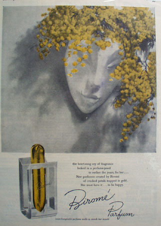 Birome Parfum Lady And Gold Flowers Headpiece Ad 1947