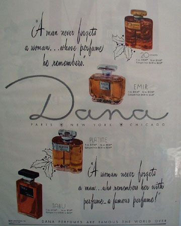 Dana Perfumes Man Never Forgets Woman Ad 1948