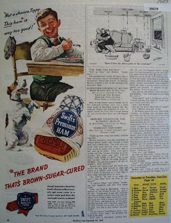 Swift Premium Sugar Cured Ham 1945 Ad