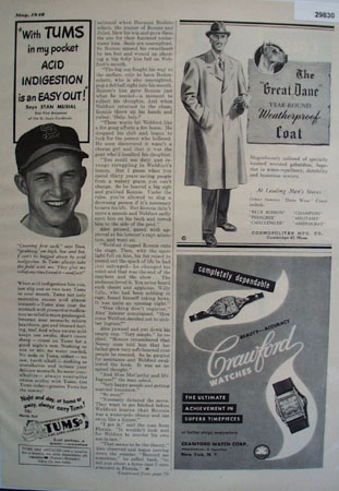 Tums Antacid Stan Musial 1948 Ad