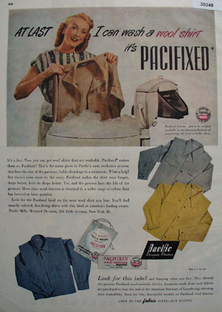 Pacific Mills Can Wash Wool Shirt Ad 1947