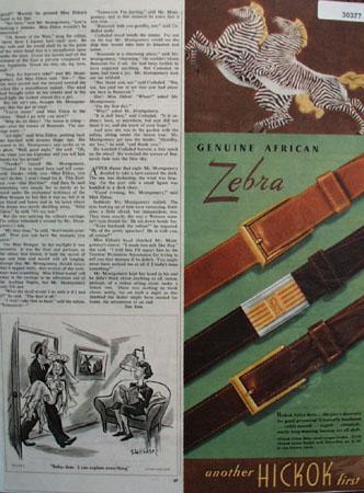 Hickok Genuine African Zebra Belts Ad 1945