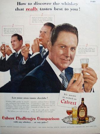 Calvert Reserve Whiskey Taste Test 1951 Ad