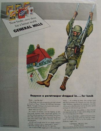 General Mills Paratrooper Drops In For Lunch Ad 1943