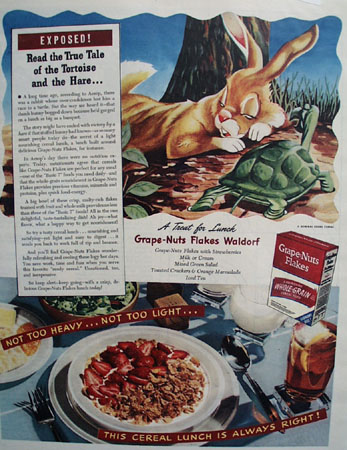 Grape Nuts Flakes Tortoise And the Hare Ad 1944