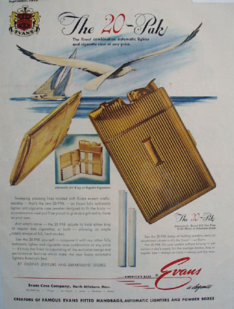 Evans Automatic Lighter and Cigarette Case 1949 Ad
