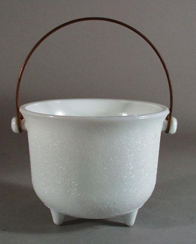 Indiana Glass bail handle mini planter