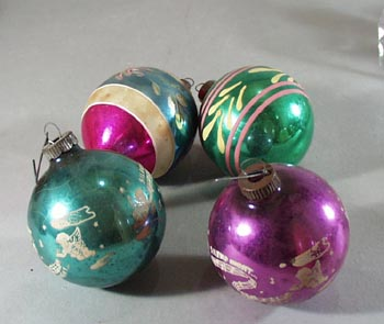 4 Vintage Christmas Ornaments