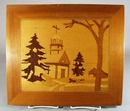 Vintage Wood Inlay Picture Church, Sled and snow scene