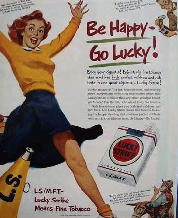 Lucky Strike Cigarette L.S.M.F.T. 1950 Ad