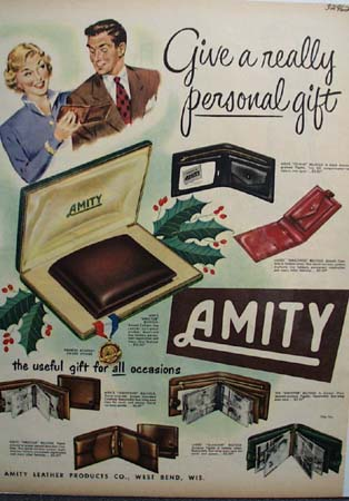 Amity Leather Products Billfolds 1951 Ad