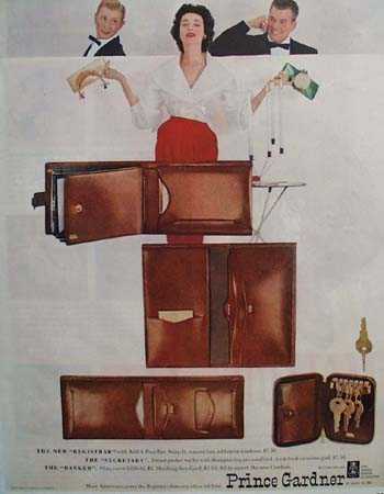 Prince Gardner Fine Leather Fashion Accessories. 1953 Ad