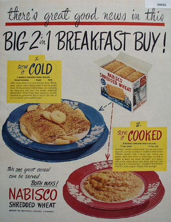 Nabisco Shredded Wheat Cold Cooked 1949 Ad