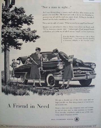 Bell Telephone System Flat Tire 1955 Ad
