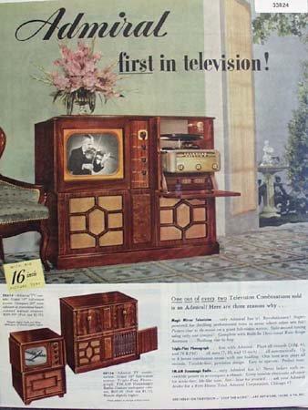 Admiral Television Big 16 Inch 1949 Ad