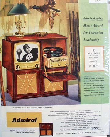 Admiral Television Merit Award 1950 Ad