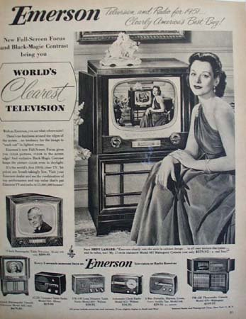 Emerson Television and radio Hedy Lamarr 1951 Ad