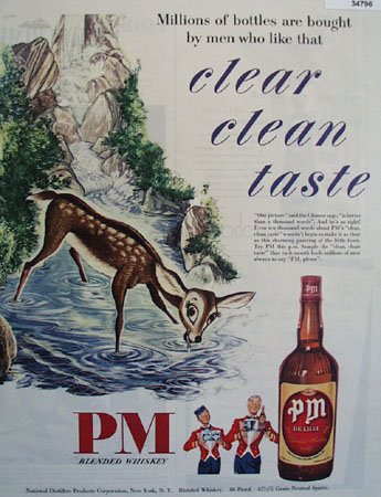 P M Blended Whiskey Deer Fawn 1948 Ad
