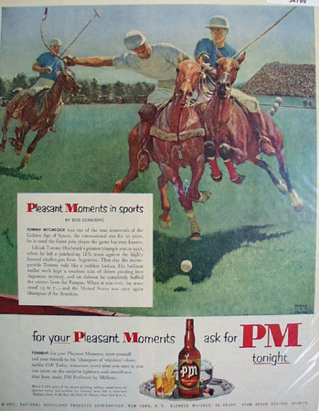 PM Whiskey Pleasant Moments In Sports 1951 Ad