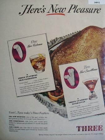Three Feathers Three Drinks Recipes 1948 Ad