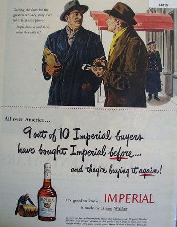 Hiram Walker Imperial Whiskey 1949 Ad
