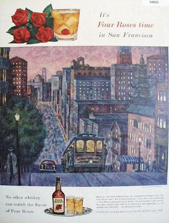 Four Roses San Francisco 1955 Ad.