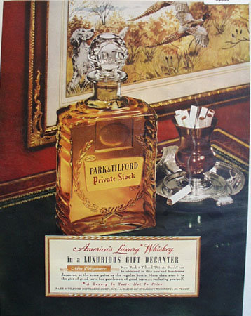 Park and Tilford Private Stock Whiskey 1951 Ad.