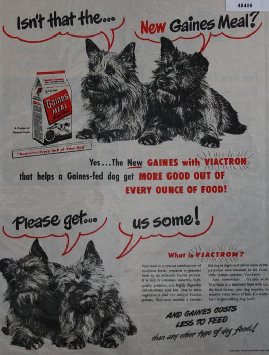 Gaines Meal for Dogs 1948 Ad