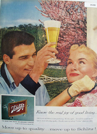 Schlitz The Beer that Made Milwaukee Famous 1959 Ad