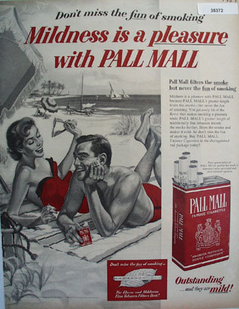Pall Mall Famous Cigarettes 1957 Ad