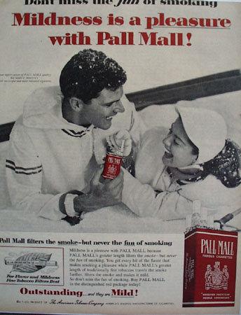 Pall Mall Cigarette 1957 Ad