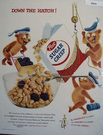 Post Sugar Crisp 1955 Ad