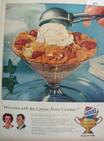 Wheaties Cereal With Ice Cream 1956 Ad