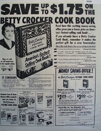 General Mills Betty Crocker Cook Book 1951 Ad