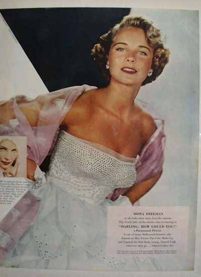 Max Factor Mona Freeman Ad 1951