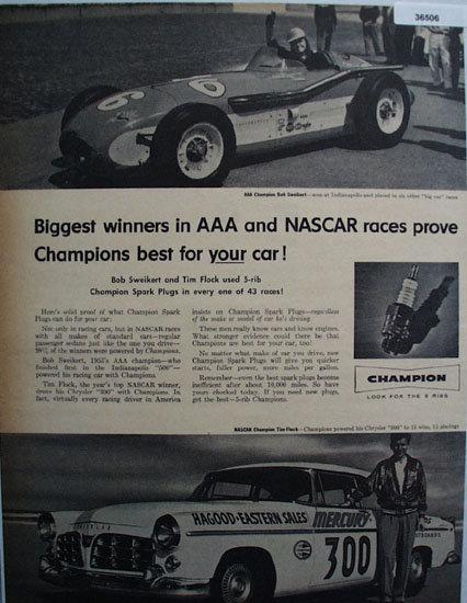 Champion Spark Plugs 1956 Ad