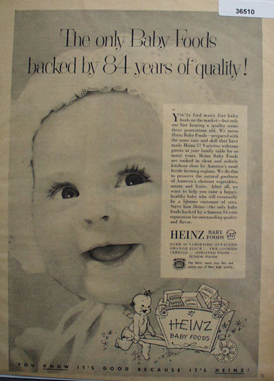 Heinz Baby Foods 1953 Ad