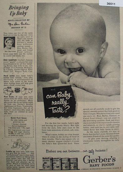 Gerbers Baby Food 1953 Ad
