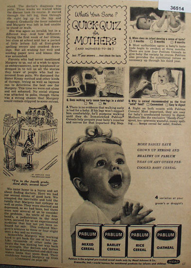 Pablum Baby Cereal 1953 Ad.