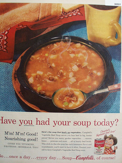 Campbells Vegetable beef Soup 1957 Ad