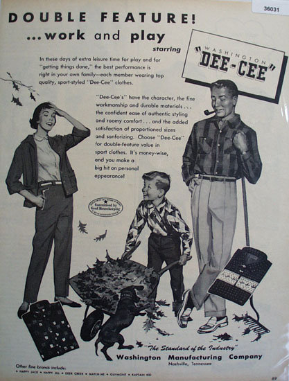 Washington Dee Cee Clothes 1955 Ad