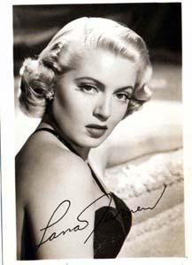 Photo of Lana Turner, studio signed.