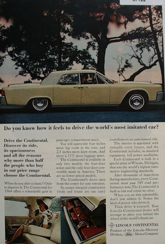 Lincoln Continental Car 1964 Ad