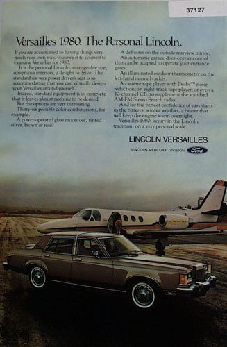 Ford Lincoln Versailles Car 1978 Ad