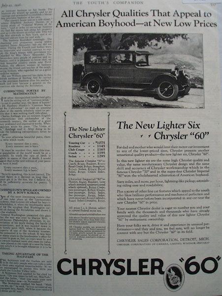 Chrysler 60 Car 1926 Ad