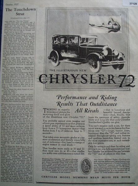Chrysler 72 Car 1927 Ad