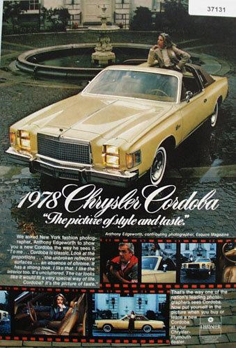 Chrysler Cordoba Car 1978 Ad