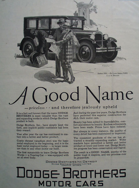 Dodge Brothers Motor Cars 1926 Ad
