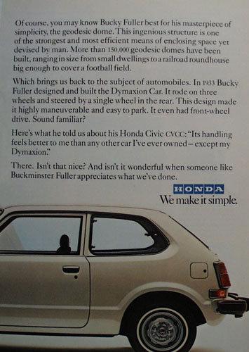 Honda Civic Car 1978 Ad
